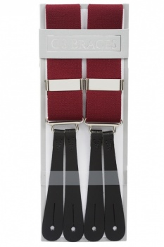 Classic Plain Burgundy Wine Y Back Elastic Trouser Braces With Leather Ends by Gents Shop